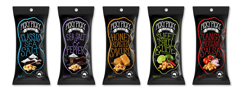 Picky Picky Peanuts products - packs and flavours